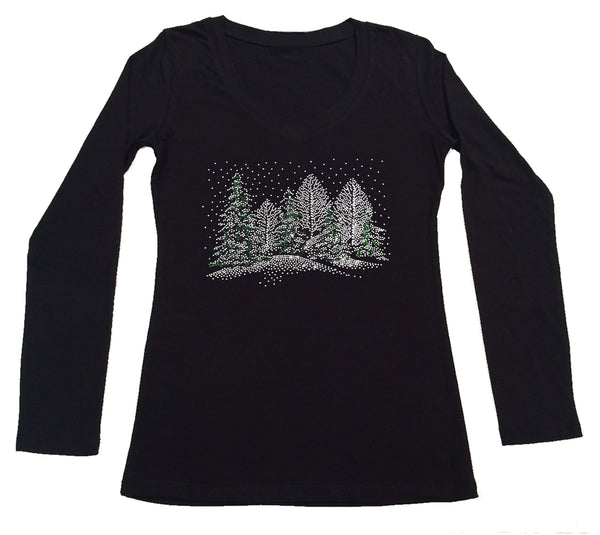 Womens T-shirt with Winter Scene with Snow and Christmas Trees in Rhinestones