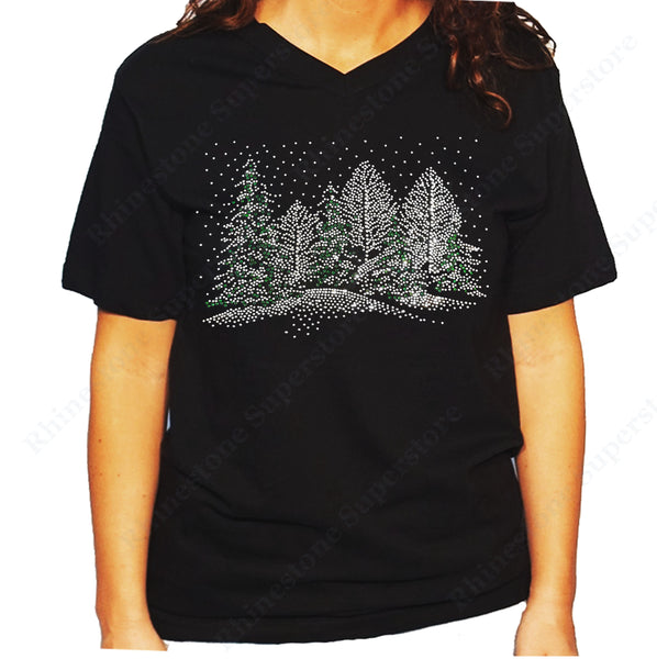 Women's / Unisex T-Shirt with Winter Scene with Snow and Christmas Trees in Rhinestones