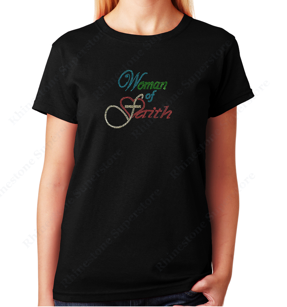 Women's / Unisex T-Shirt with Women of Faith in Script in Rhinestones