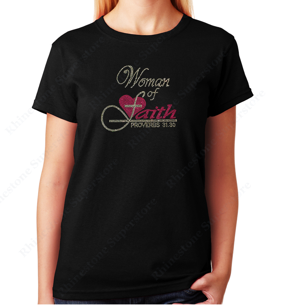 Women's / Unisex T-Shirt with Women of Faith with Pink Heart in Rhinestones