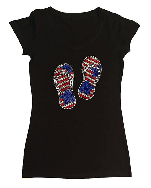Womens T-shirt with 4th of July Vacation Sandals in Rhinestones