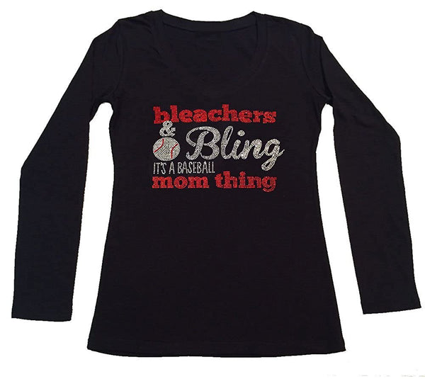 Womens T-shirt with Bleachers & Bling it's a Baseball Mom Thing in Rhinestones