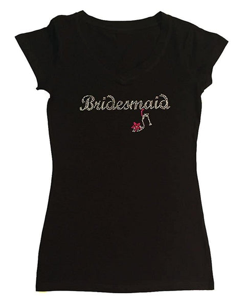 Womens T-shirt with Bridesmaid with Heel in Rhinestones