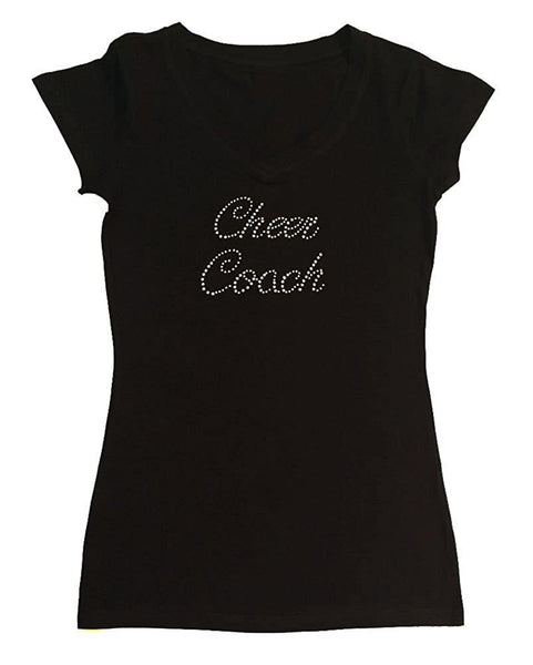 Womens T-shirt with Cheer Coach in Script in Rhinestones