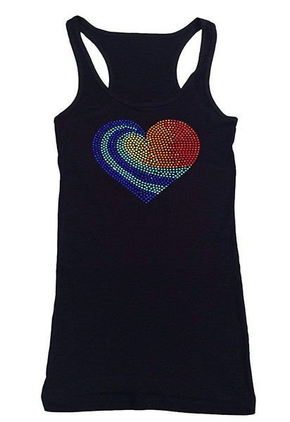 Womens T-shirt with Colorful Heart in Rhinestuds