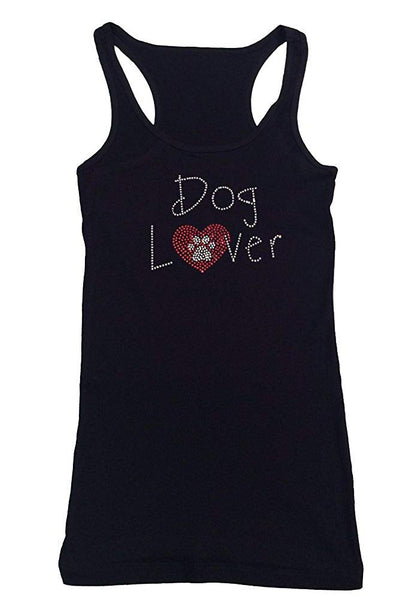 Womens T-shirt with Dog Lover with Heart and Paw in Rhinestones