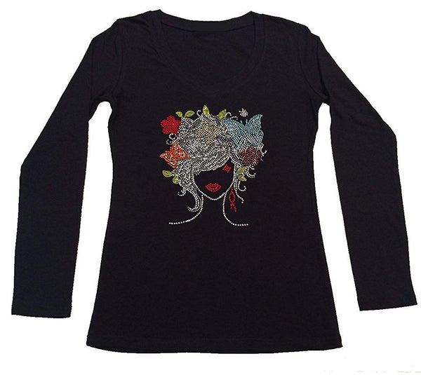 Womens T-shirt with Girl with Colorful Butterflies in Rhinestones