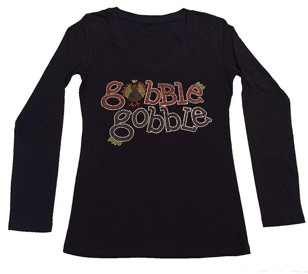Womens T-shirt with Girl with Gobble Gobble Thanksgiving in Rhinestones