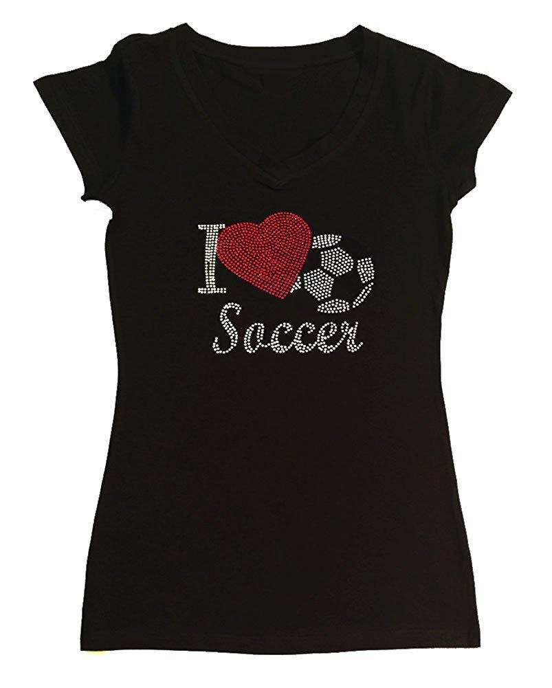 Womens T-shirt with I Love Soccer in Rhinestones