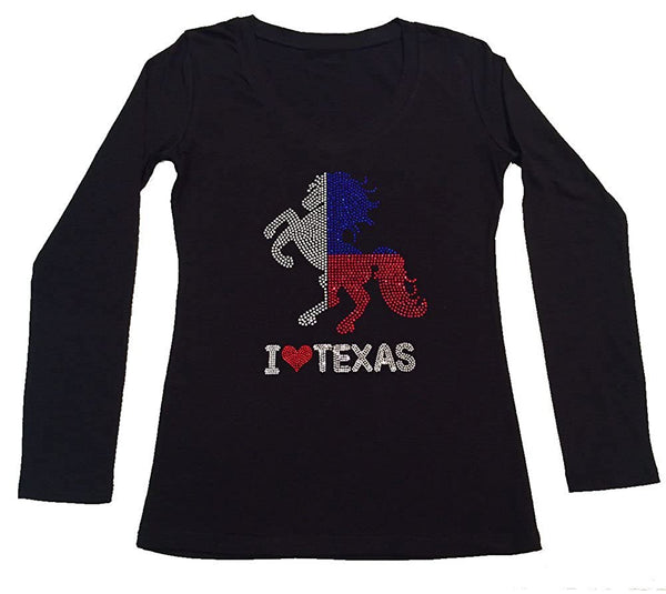 Womens T-shirt with I Love Texas with Horse in Rhinestones