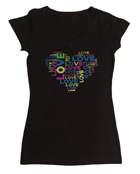Womens T-shirt with Love Heart in Neon Rhinestuds