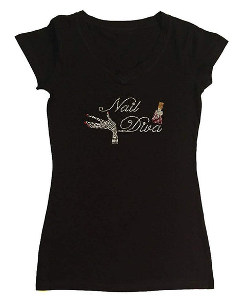 Womens T-shirt with Nail Diva with Nail Polish in Rhinestones