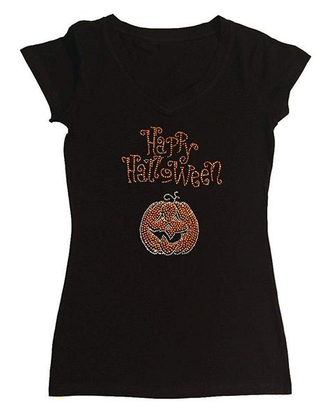 Womens T-shirt with New Happy Halloween with Pumpkin in Rhinestones