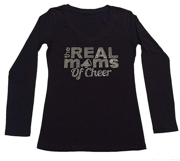 Womens T-shirt with Real Moms of Cheer in Rhinestones
