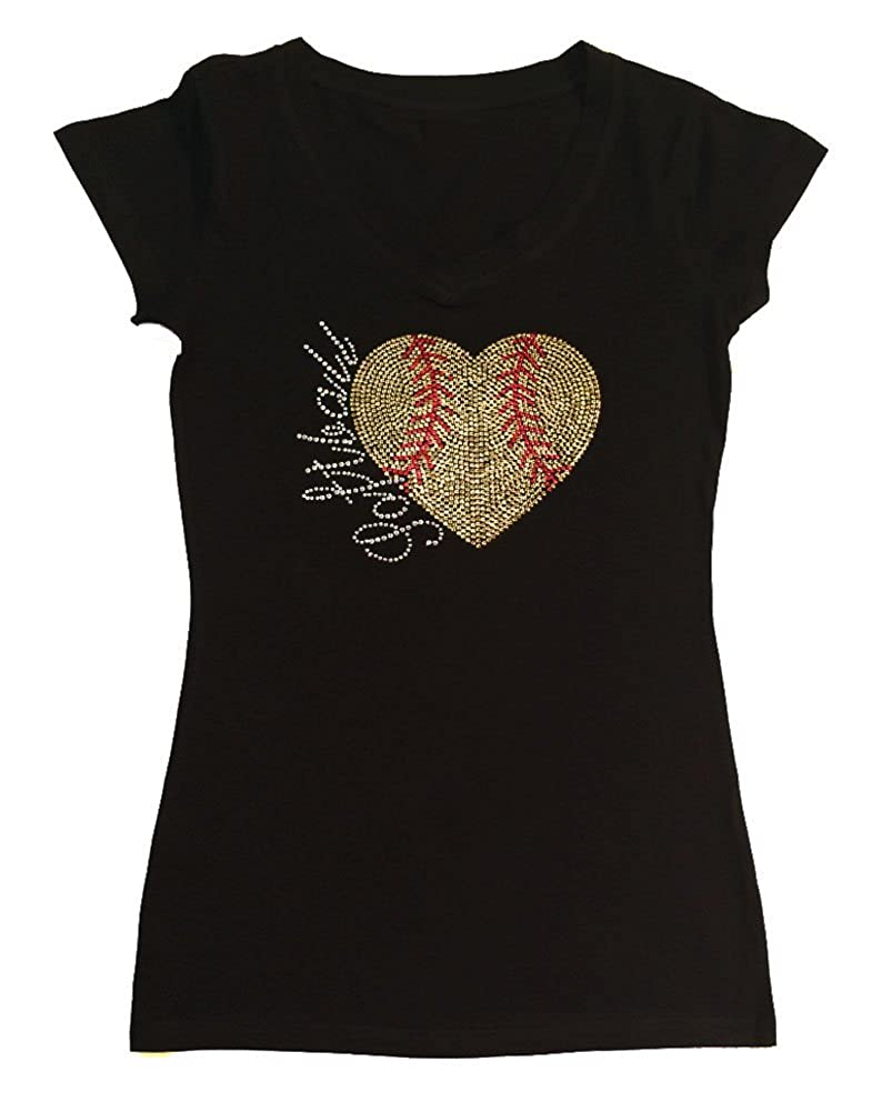 Womens T-shirt with Softball Heart in Sequence and Rhinestones