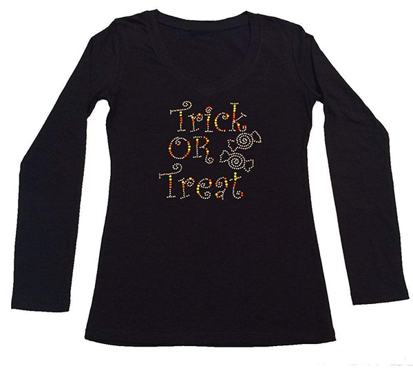 Womens T-shirt with Trick or Treat with Candy in Rhinestones