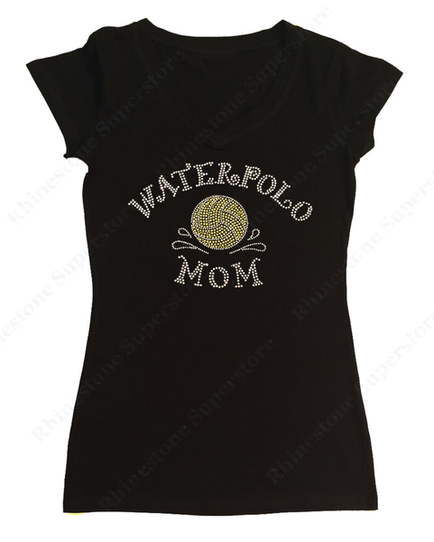 Womens T-shirt with Yellow Waterpolo Ball Mom in Rhinestones