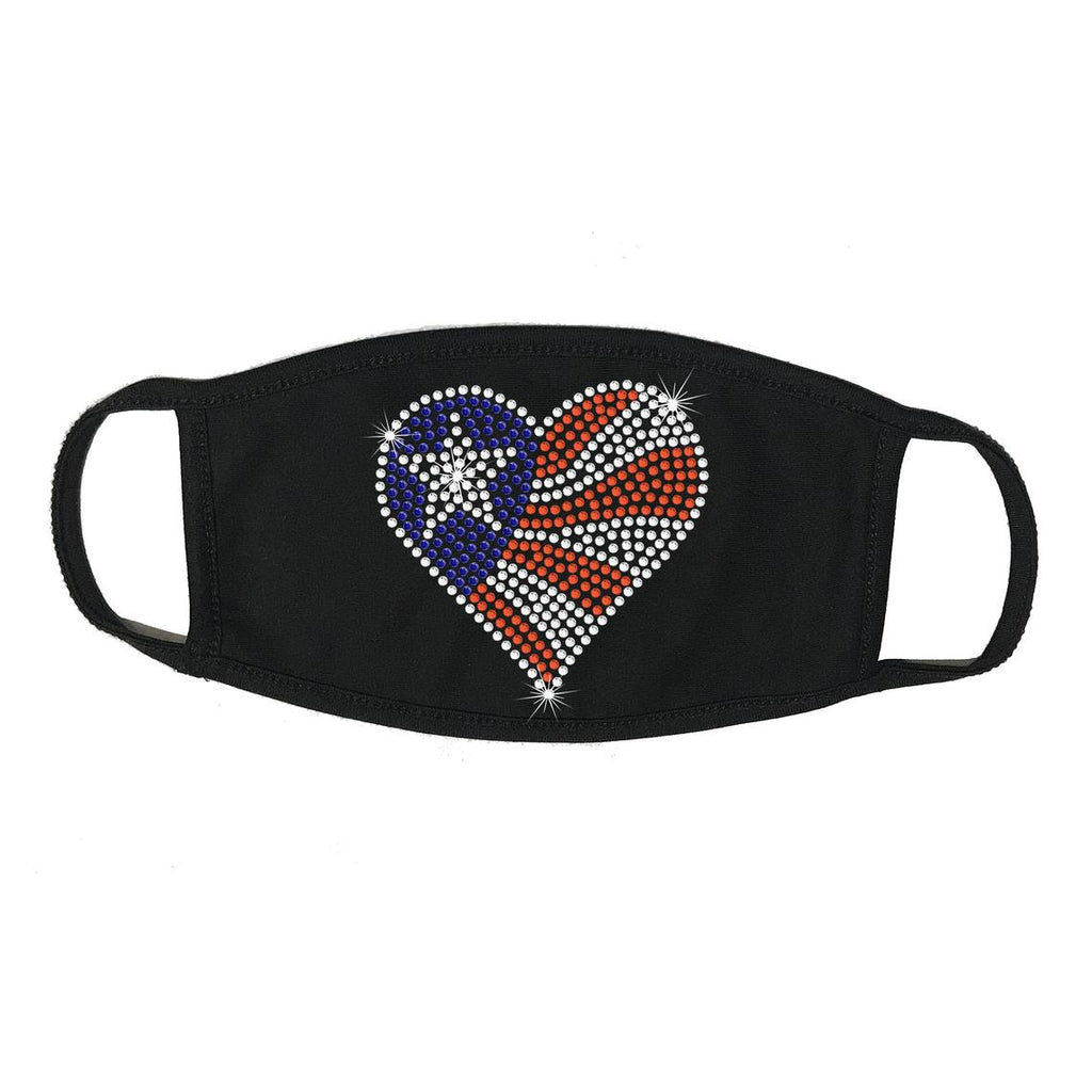 Rhinestone Embellished Black Face Mask with Heart American Flag, 100% Cotton 2 PLY, Washable, Made in the USA