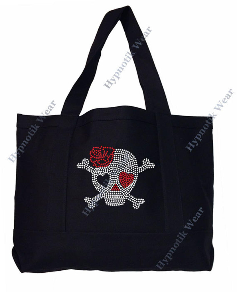 "Rhinestone Sturdy Tote Bag with Zipper & Front Pocket "" Skull with Rose "" in Various Color, Bling"