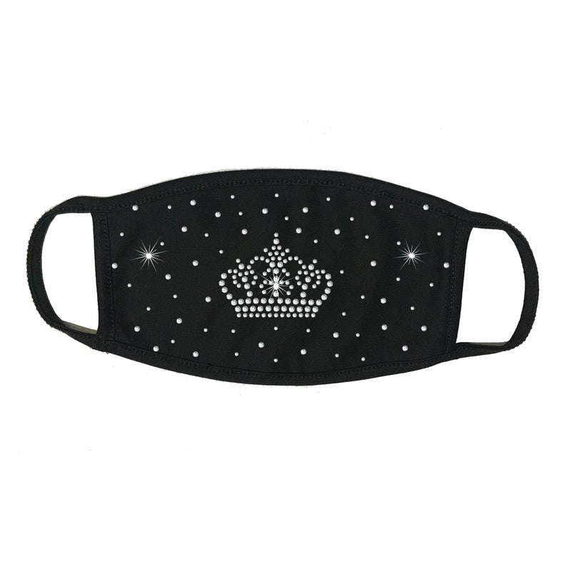 Rhinestone Face Mask, Face Cover, Scattered with Crown