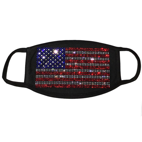Rhinestone Embellished Face Mask with American Flag
