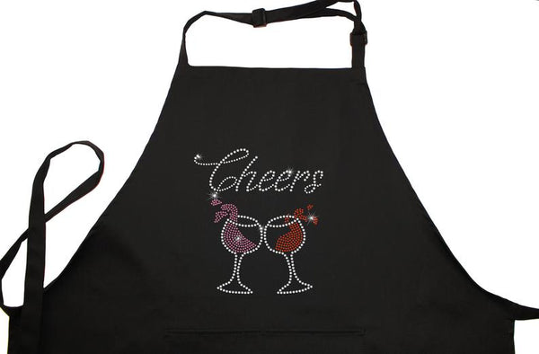 Rhinestone Embellished Black Apron with Cheers and Wine Glasses