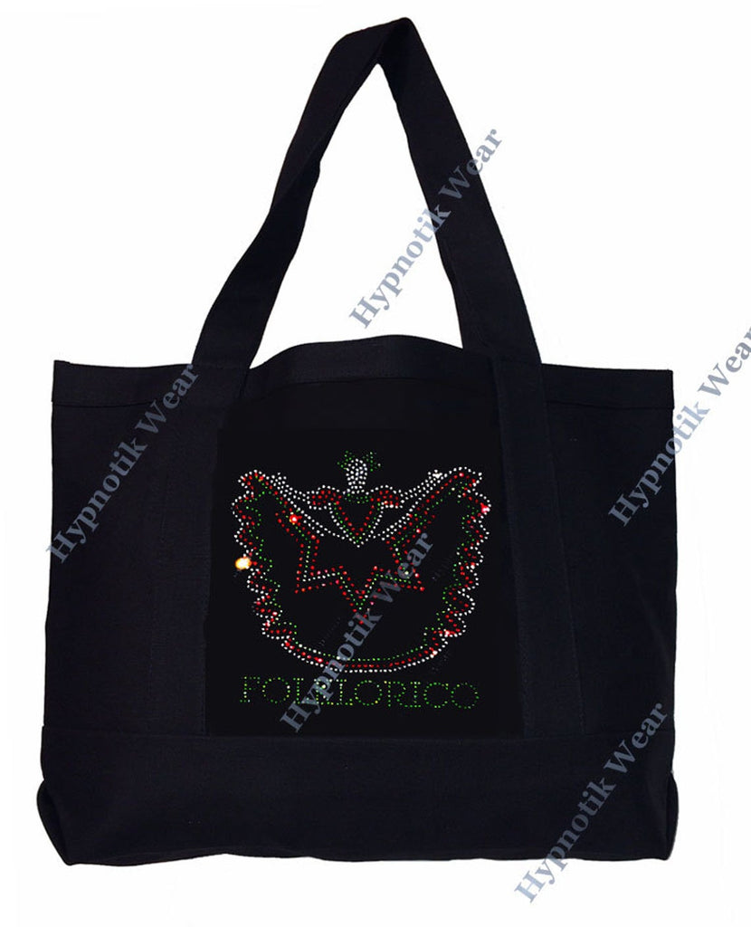 "Rhinestone Sturdy Tote Bag with Zipper & Front Pocket "" Folklorico Dancer "" Iron On , Hot fix, Dance, Culture"