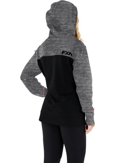 FXR Women's Pursuit Tech Pullover Fleece Black/Electric Pink