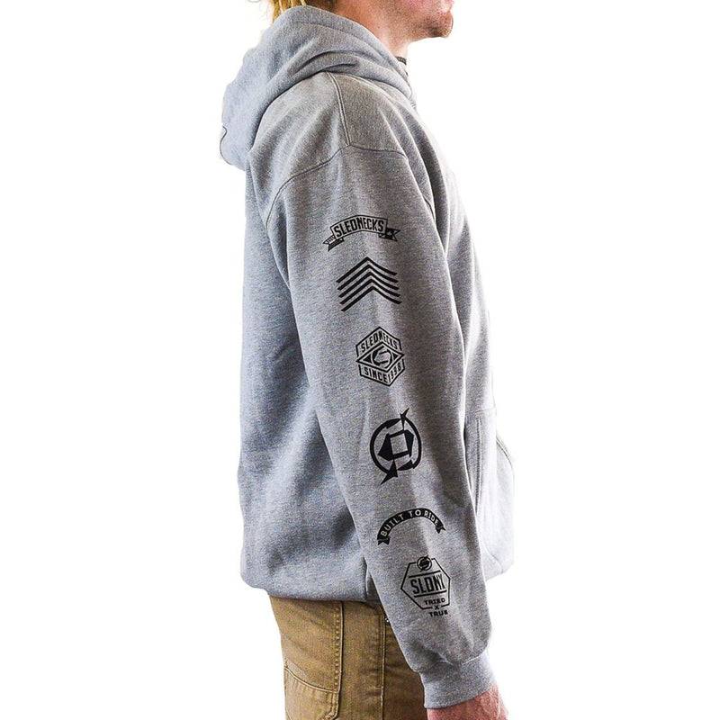 Slednecks Badge Of Honor Pullover Hoody Heather Grey