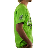 Slednecks Side Split Tee Shirt Neon Green