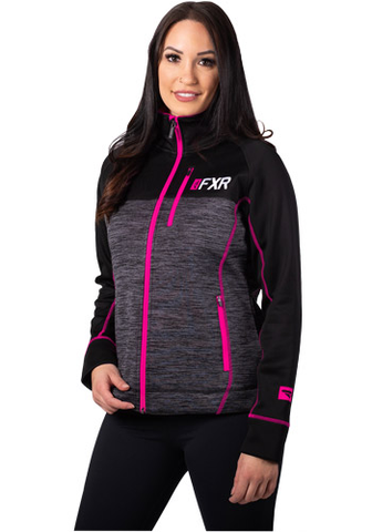 FXR Elevation Tech Zip Fleece Charcoal/Fuchsia