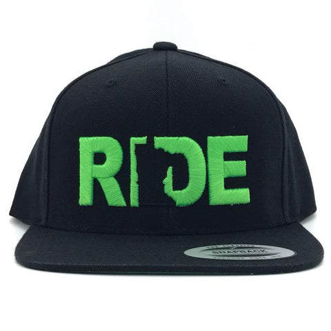 Ride Minnesota Hat Flat Brim Snapback Black/Green