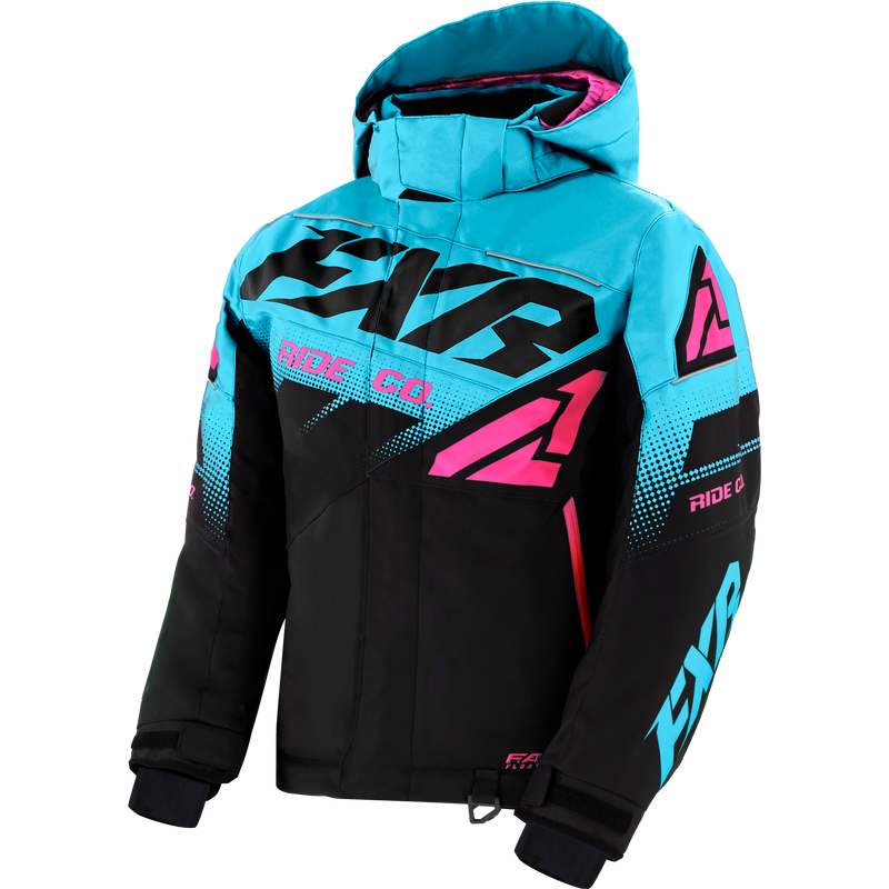 FXR Boost Youth Jacket Black/Sky Blue/Electric Pink