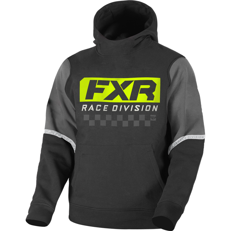FXR Race Division Youth Pullover Fleece Black/Hi-Vis
