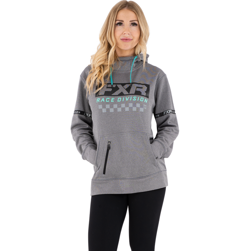 FXR Women's Race Division Tech Pullover Fleece Grey Heather/Mint