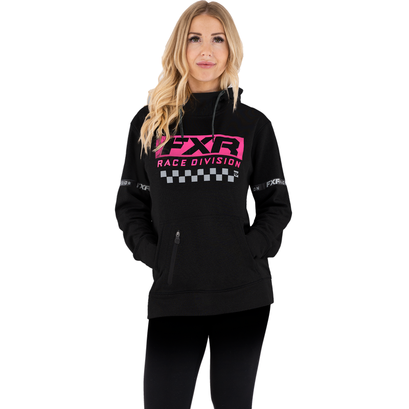 FXR Women's Race Division Tech Pullover Fleece Black/Electric Pink