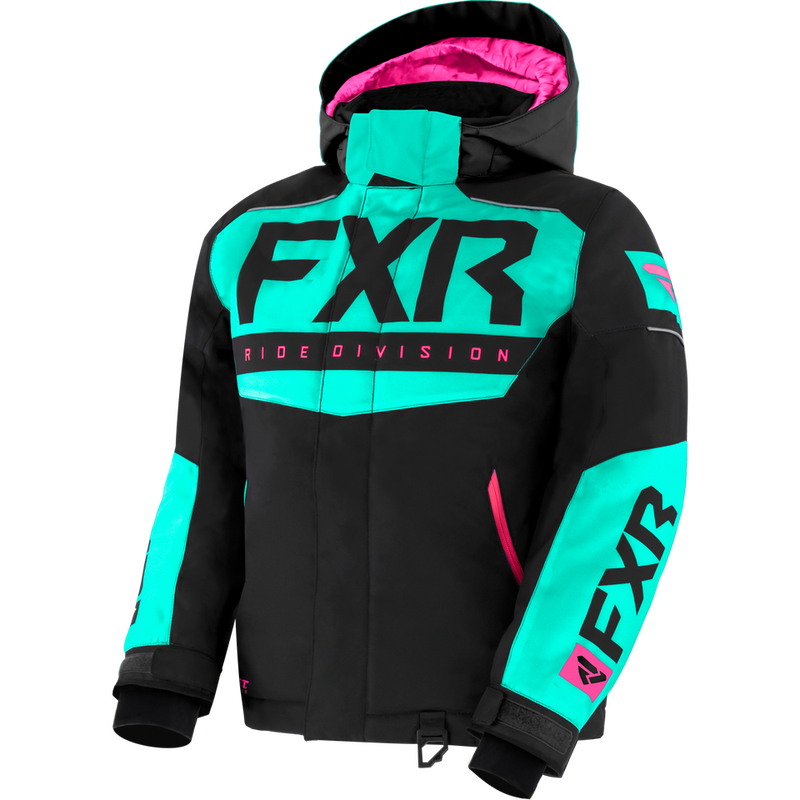 FXR Helium Youth Jacket Black/Mint/Electric Pink
