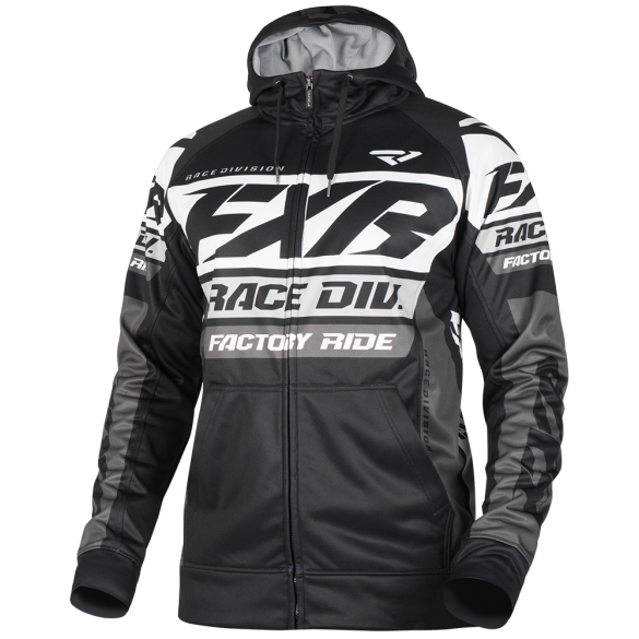 FXR Race Division Tech Zip Hoodie Black White