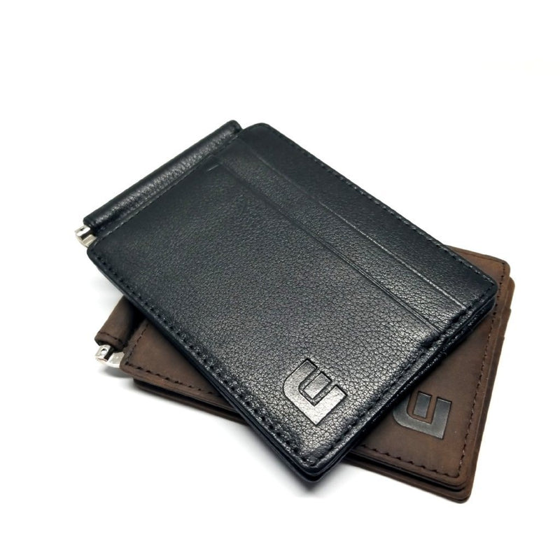 RFID Slim Spring Money Clip Wallet - Front Pocket Credit Card Holder Money Clip Walleteras Black