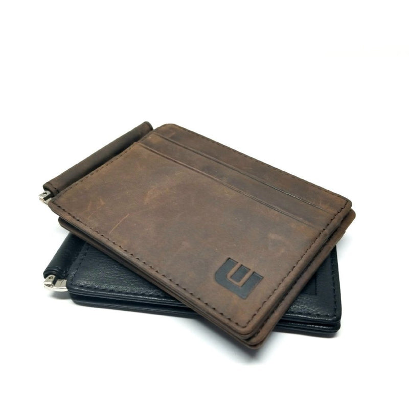 RFID Slim Spring Money Clip Wallet - Front Pocket Credit Card Holder Money Clip Walleteras Coffee