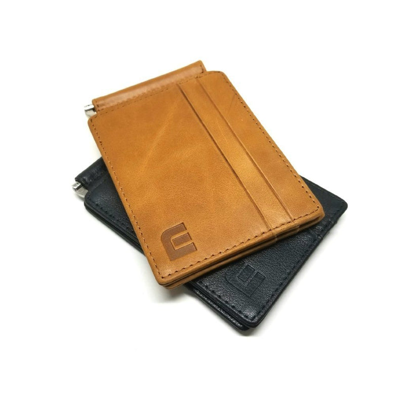 RFID Slim Spring Money Clip Wallet - Front Pocket Credit Card Holder Money Clip Walleteras Brown