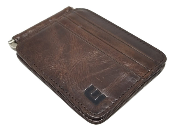 Slim Spring Money Clip Wallet and Credit Card Case Holder Bi-Fold wallet WALLETERAS Coffee
