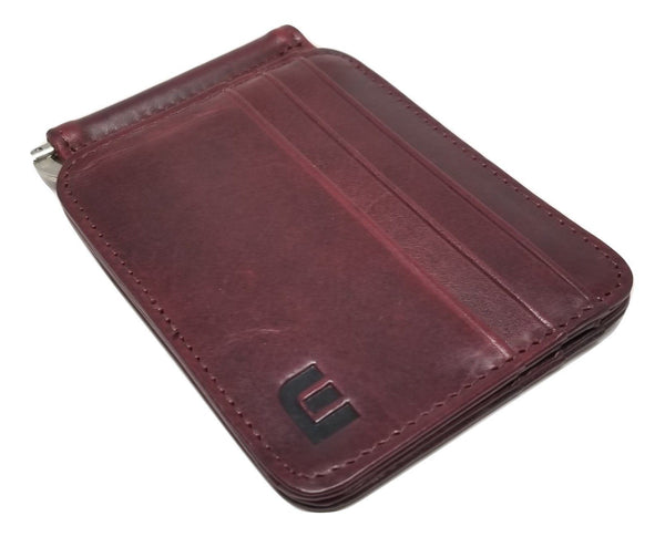 Slim Spring Money Clip Wallet and Credit Card Case Holder Bi-Fold wallet WALLETERAS Wine Red