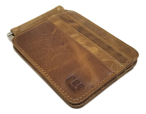 Slim Spring Money Clip Wallet and Credit Card Case Holder Bi-Fold wallet WALLETERAS Brown