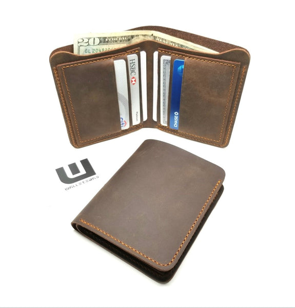 Brown Crazy Horse Leather Bifold Wallet - Cowboy wallets Bi-Fold wallet WALLETERAS Vertical Coffee