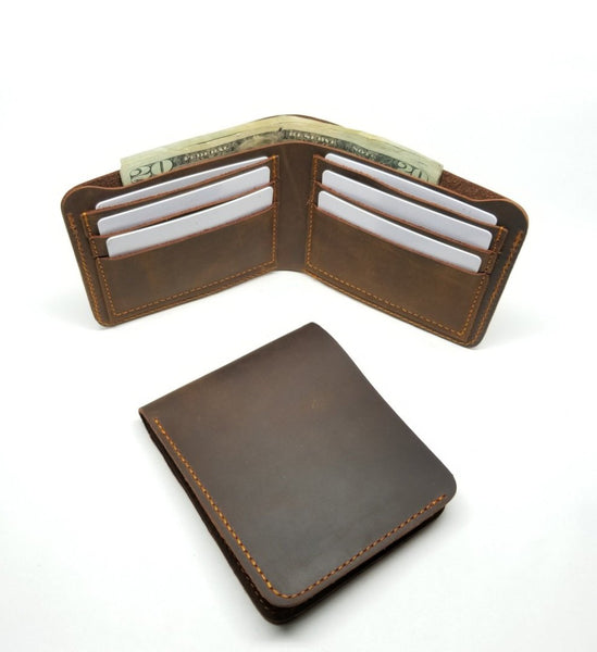 Brown Crazy Horse Leather Bifold Wallet - Cowboy wallets Bi-Fold wallet WALLETERAS Horizontal Coffee
