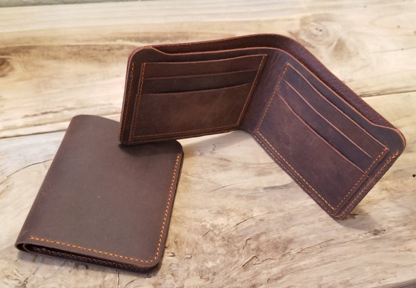 Brown Crazy Horse Leather Bifold Wallet - Cowboy wallets Bi-Fold wallet WALLETERAS