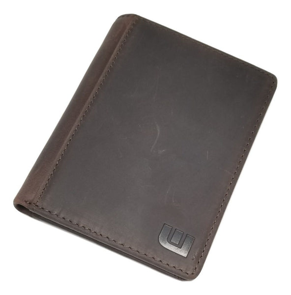 Vertical Style RFID Bifold in Crazy Horse Leather - Vertex Bi-Fold wallet WALLETERAS Coffee w/RFID