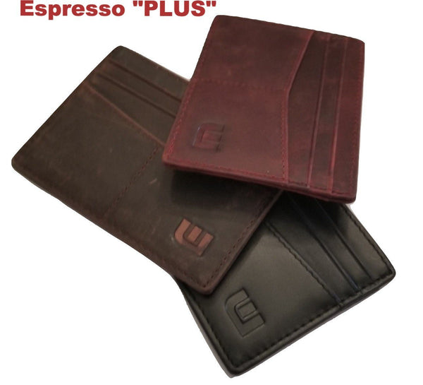 "RFID Front Pocket Wallet / Card Holder with ID Window - Espresso ""Plus"" -walleteras"