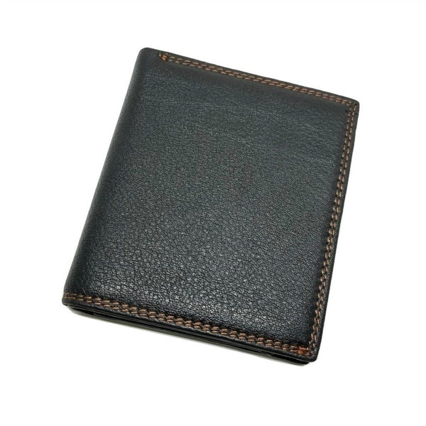 Mini-Wallet Vertical Style with Zippered Compartment Bi-Fold wallet WALLETERAS Black